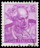 Stamp shows a head of the Joel by Michelangelo — Stock Photo