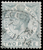 Stamp printed in GIBRALTAR shows image of the George V — Stock Photo