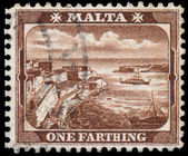 Sello impreso en Malta muestra un Farthing — Foto de Stock