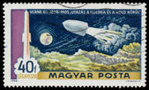 Stamp printed in Hungary shows rocket by Jules Verne — Stock Photo