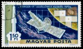 Stamp printed in Hungary shows Ranger 7 probe — ストック写真