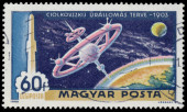 Stamp printed in Hungary shows Tsiolkovsky's space station — Stock Photo