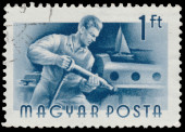 Stamp printed in Hungary, shows Shipbuilder — Stockfoto