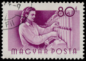 Stamp printed in Hungary, shows Weaver — Stockfoto
