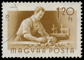 Stamp printed in Hungary, shows Carpenter — Stockfoto