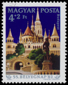 Stamp printed by Hungary shows Fisherman's Bastion Budapest — Stock Photo