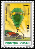 Stamp printed in Hungary shows 200 Years of Manned Flight — Stock Photo