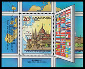 Stamp printed in Hungary shows Conference in Europe, Budapest — Stock Photo