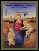Stamp printed in Hungary shows a Raphael's painting — Stock Photo