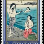 Stamp printed in Hungary shows Awabi fisher women — Stock Photo #58723821