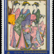 Stamp printed in Hungary shows walking women and children — Stock Photo #58724709