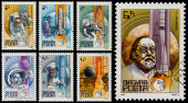 "Set of stamps printed in Hungary shows series ""Space Research"" — Stock Photo"