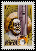 Stamp printed in Hungary shows Tsiolkovsky — Stockfoto