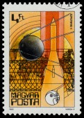 Stamp printed in Hungary shows Sputnik I  — Foto de Stock