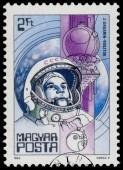Razítko v Maďarsku ukazuje Yuri Gagarin — Stock fotografie