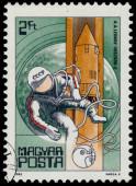 Stamp printed in Hungary shows Leonov  — Stok fotoğraf