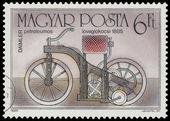 Stamp printed in Hungary shows Daimler — Foto de Stock