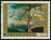 Stamp printed in Hungary shows Picture by Csontvary — Stock Photo