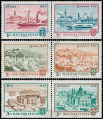 Stamps printed in Hungary shows View of Budapest — Stock Photo