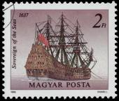 Stamp printed in Hungary shows Sowereign of the Seas — Stock Photo