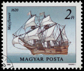 Stamp printed in Hungary shows Mayflower — Stock Photo