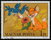 Stamp printed by Hungary shows Scenes from Cartoon Vuk — ストック写真