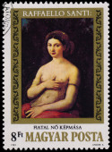 Stamp printed in Hungary shows painting by Raffaello Santi — Stock Photo