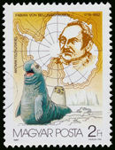 Stamp printed by Hungary shows discovering South Pole — Stock Photo