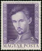 Stamp printed in Hungary shows famous Hungarian poet Sandor Peto — Stock Photo
