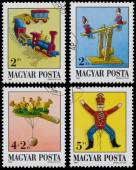 Set of stamps printed in Hungary shows Antique Toys — Foto de Stock