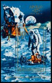 Stamp printed in Hungary shows Apollo 17 — Stock Photo
