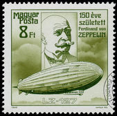 Stamp printed in Hungary shows Zeppelin — Stock Photo