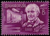 Stamp printed by Hungary, shows Edison — Stock Photo