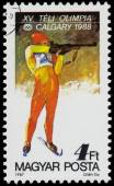 Stamp printed in the Hungary shows Biathlon — Stok fotoğraf