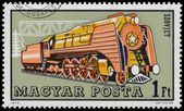 Stamp printed in Hungary shows sovjet locomotive — Stock Photo