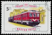 Stamp printed in Hungary shows locomotive — Stock Photo