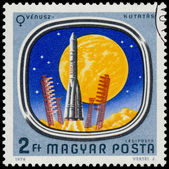Stamp shows Space Probes to Mars and Venus — Stock Photo