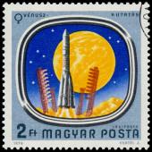 O selo mostra sondas espaciais para Marte e Vênus — Fotografia Stock