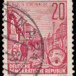 Постер, плакат: Stamp printed in GDR shows Stalin Avenue