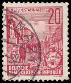 Stamp printed in GDR, shows Stalin Avenue — Stock Photo