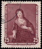 Stamp printed in DDR shows painting from Dresden Gallery — Stock Photo