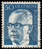 Stamp printed in Germany, shows portrait of Heinemann — Stockfoto