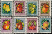 Stamps printed in Hungary show Friuts and Vegetables — Stock Photo
