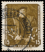 Stamp printed in DDR shows Portrait of Morette by Holbein — Stock Photo
