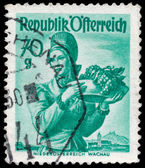 Stamp printed in Austria, shows a woman from Lower Austria, Wach — Stockfoto