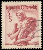 Stamp printed in Austria, shows a woman from Burgenland — Stockfoto