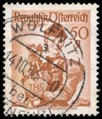 Stamp printed in Austria, shows a woman from Vorarlberg, Bregenz — Stock Photo