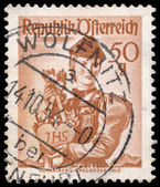 Stamp printed in Austria, shows a woman from Vorarlberg, Bregenz — Stockfoto