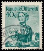 Stamp printed in Austria, shows a woman from Wien — Stockfoto