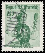 Stamp printed in Austria, shows a woman from Vorarlberg, Montafo — Foto Stock